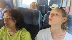 Rhihana and Bianca asleep on the bus - we all do a log of sleeping on either the bus or the planes