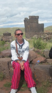 Bianca is really excited listening to the tour guide talk about the history of the Sillustani Ruins