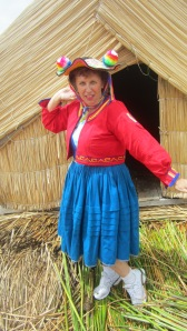 Yes a photo of me dressed in the local costume )not very flattering) on a floating island on the lake